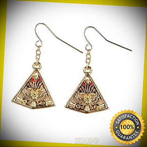 (KARPP MYSTICA Fashion Egyptian Falcon and Pyramid Earrings Pewter Alloy Perfect Indoor Collectible Figurines)