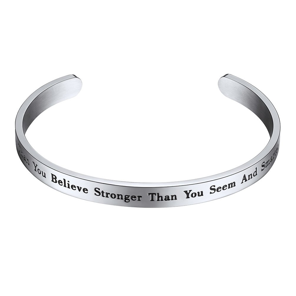 PROSTEEL Cuff Bracelet,You Are Braver Than You