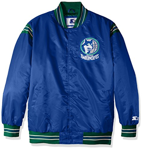 STARTER NBA Minnesota Timberwolves Men's The Enforcer Retro Satin Jacket, XX-Large, Royal (Nba Starter)