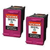 VIVINK 2 Pack Remanufactured for HP 302 302XL Ink Cartridges High Capacity Compatible with HP DeskJet 3630 2130 1110, HP Envy 4520 4527 4524, HP OfficeJet 3830 4650 3831 Printer(2 tri-colour)