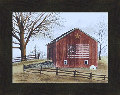 (Flag Barn by Billy Jacobs 16x20 Americana Red Barn Patriotic Country Primitive Folk Art Print Wall Décor Framed Picture (2