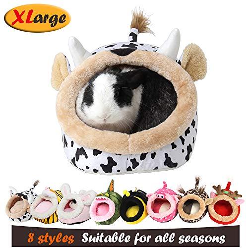 MYIDEA Warm Guinea Pigs Bed,Hedgehog Winter Nest,Rat Chinchillas & Small pet Animals Bed/Cube/House, Habitat, Lightweight, Durable, Portable, Cushion Big Mat (Small Pet – XL, Milk Cow)