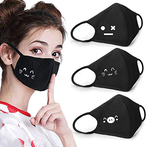Coolha 3 Pack Mouth Cute Mask Cover Cotton Unisex Anti-dust Respiratory Protective Mouth Mask with Cat Face High Nose Bridge Black Masks]()