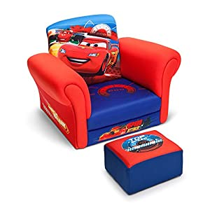 Disney Pixar Lightning Mcqueen Cars Club Kids Chair with Ottoman Set in- Blue/Red from PNB Deals