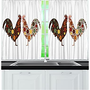 Rooster in Polka Dots 55 X 39 Inch Country Decor Curtains for Kitchen Windows Brown Rustic Decorations Farmhouse Themes White Brick Red Green Yellow Wall Accessories 2 Panels Machine Washable