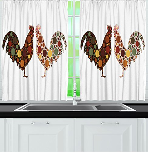 Ambesonne Kitchen Curtains by, Rooster in Polka Dots Country