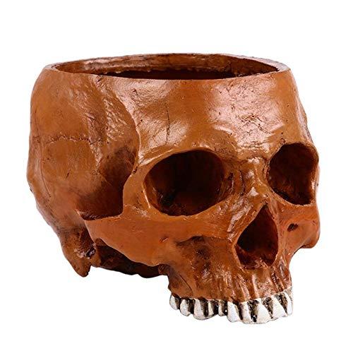 Laz-Tipa - Brown Resin Skulls Flowerpot Hand Carved Flower Pot Home Garden Decoration Halloween Decoration