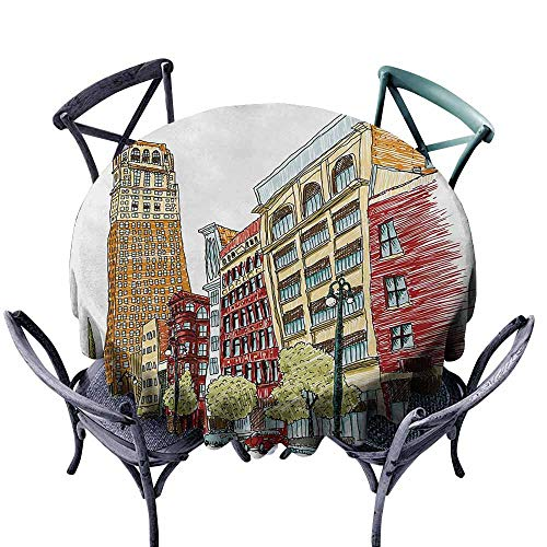 VIVIDX Round Outdoor Tablecloth,Detroit,Buildings on Woodward Avenue in The Downtown Detroit Artistic Sketchy Urban Scene,for Events Party Restaurant Dining Table Cover,63 INCH,Multicolor]()