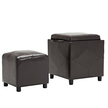 Faux Leather Storage Ottoman Bench Footrest Coffee Table Brown