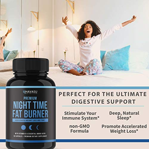 Night Time Weight Loss Pills with Premium Vitamin D, Green Coffee Bean Extract, White Kidney Bean Extract, L-Theanine, L-Tryptophan, Melatonin- Non Habit Forming PM Fat Burner & Metabolism Booster by Havasu Nutrition (Image #6)