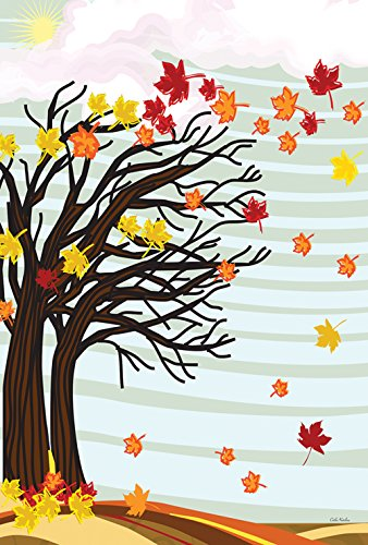 Toland Home Garden Autumn Winds 12.5 x 18 Inch Decorative Fall Blowing Leaves Garden Flag ()