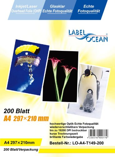 200 Blatt A4 Overheadfolie (OHP Transparentfolie Transparentpapier) für Inkjetdrucker Laserdrucker Tintenstrahldrucker Kopierer