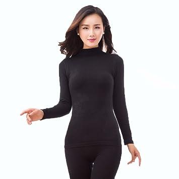 LVLIDAN Mujer Ropa interior térmica Manga larga pantalón invierno Cuello alto sección delgada auto-cultivo
