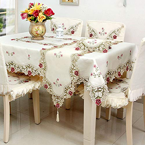 Embroidered Square Tablecloth - LeLehome Red Rose Flower Embroidered Lace Cream Square Tablecloth 51 inch x 51 Inch Approx Multi