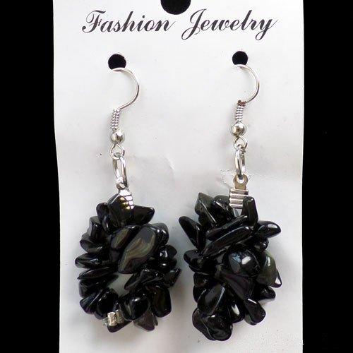Beautiful a Pair of Black Agate Chips Earrings