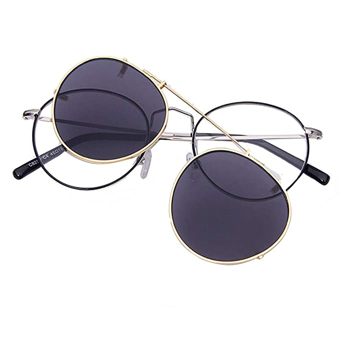 Embryform Gafas de sol con clip, unisex, polarizadas, sin montura, lentes rectangulares, con clip de apertura hacia arriba se pueden enganchar en las ...
