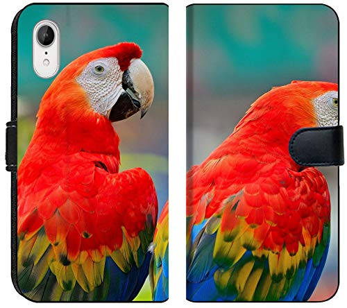 (Apple iPhone XR Flip Fabric Wallet Case Image 25961983 Couple of Colorful Scarlet Macaw Aviary Back)