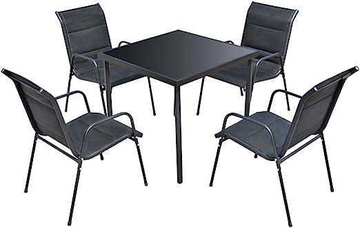 vidaXL Comedor de Jardín 7 Piezas Negro Muebles de Exterior Mesa ...