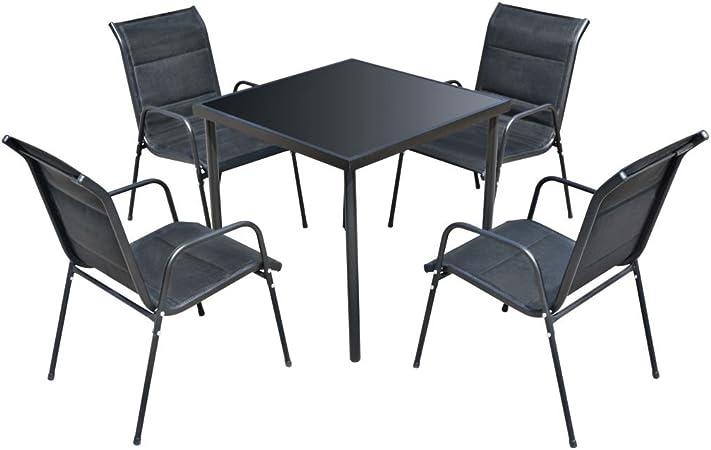 vidaXL Comedor de Jardín 7 Piezas Negro Muebles de Exterior Mesa Sillas Patio: Amazon.es: Hogar
