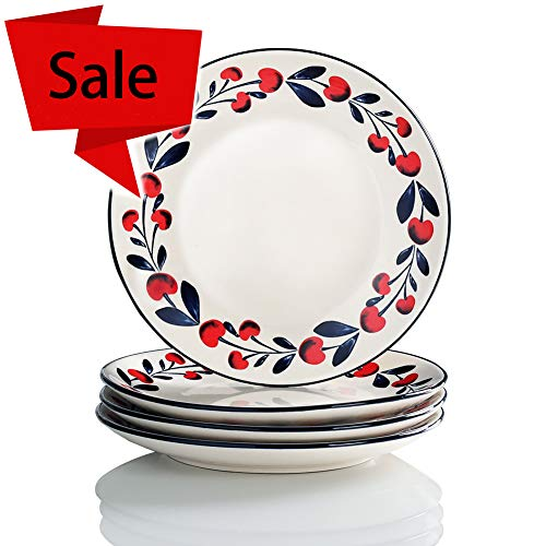 Sweejar Porcelain Dessert Plates 8 inch Dinner Plates Oven Safe, Lead-free ()