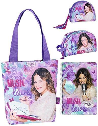Disney Violetta Shopper Tasche, Geldbeutel, Kosmetiktasche und Block, lila
