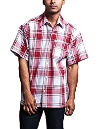 Western Casual Checkered Plaid Short Sleeve Button Up Shirt