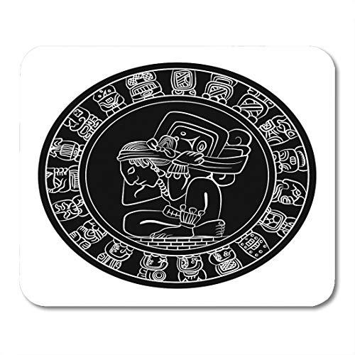 Emvency Mouse Pads Ancient Mayan Calendar Coin Mexican Culture The Aztec Civilization Black Circle Mouse pad 9.5