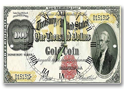Alexander Hamilton Money Clock US Treasury Gold Coin Certificate Series 1882 1,000 Dollar Bill 8 x 12 inch clock American Financial System - Currency System