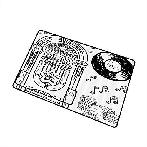 (Axbkl Washable Doormat Jukebox Doodle Style Retro Music Box Notes Coins Long Play Vintage Sketchy Artwork W35 xL59 Easy to Clean Black and White)