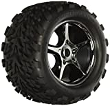 Traxxas 5374X Talon Tires Pre-Glued On Gemini Black-Chrome Wheels - TSM rated - 17mm hubs (pair)