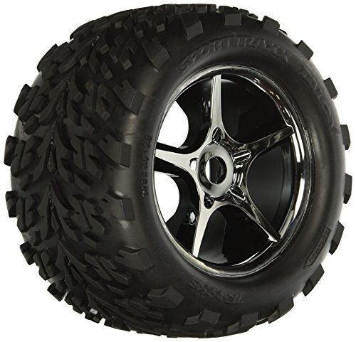 Traxxas 5374X Talon Tires Pre-Glued On Gemini Black-Chrome Wheels, TSM rated, 17mm hubs (pair)