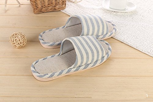 Maybest Unisex Couples Indoor Stripes Antideslizante Flax House Slipper Light Blue
