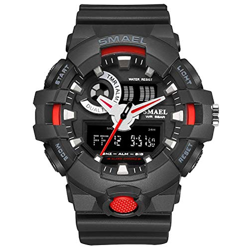 Watch Men for Sports Quartz Wristwatches Digital LED Watch Alarm Gold S Shock Clocks1642 Sport Watches Man Water Resistant,Black Red