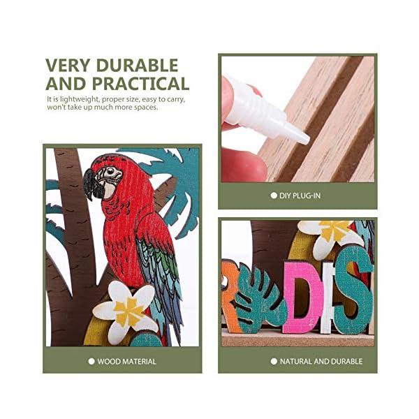 51ll4ZYWDjL Amosfun Aufsteller Holz Schriftzug Papagei Kokosnussbaum Paradise Holzschrift Tropischer Stil Desktop Ornament DIY…