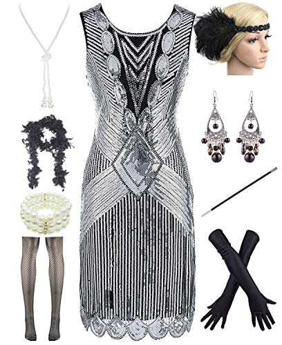 Women Plus Size 1920s Sequin Beaded Tassels Hem Flapper Dress with 20s Accessories Set (3XL, Silver)