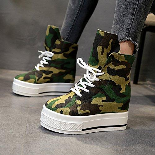 Sneakers Comfort Da Donna Hightop In Tela Con Zeppa E Zeppa Nascoste Con Tacco Alto