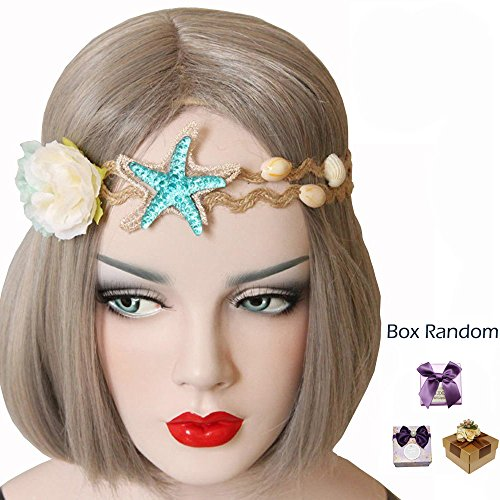 Bodermincer Summer Beach Style Bohemia Wedding Flower Head Wreath for Woman Party Mermaid Sea Star Starfish Decorations Charm Hairbands Mermaid Hair Accessories Mermaid Costume (Color 1)
