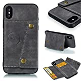 Jorisa Flip Wallet Case for iPhone Xs/iPhone X,Retro Slim Leather Magnetic Closure Stand Cover with Card Holder and Magnetic Car Mount Function Soft Silicone Protective Cover,Gray