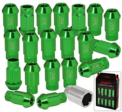 Universal JDM Sport M12x1.25MM Thread Pitch 20 Pieces JDM VIP Hexagonal Aluminum Open End Wheels Rims Tuner Locking Type Lug Nuts Set Kit Anodized Green + Key -