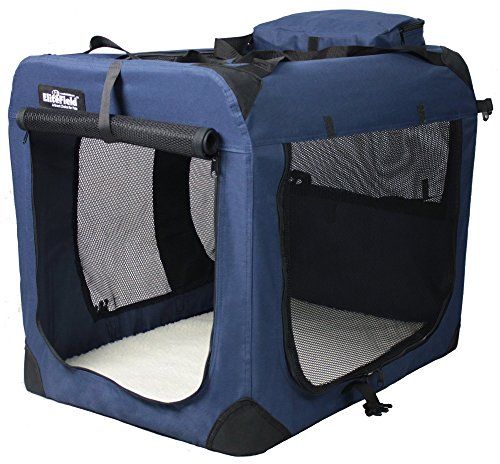 EliteField 3-Door Folding Soft Dog Crate, Indoor & Outdoor Pet Home, Multiple Sizes and Colors Available (42'L x 28'W x 32'H, Navy Blue)