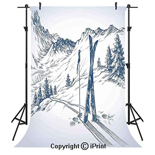 Winter Decorations Photography Backdrops,Sketchy Graphic of a Downhill with Ski Elements in Snow Relax Calm View,Birthday Party Seamless Photo Studio Booth Background Banner 6x9ft,Blue White