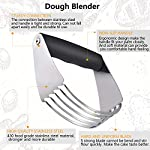 Dough Blender | Stainless Steel Pastry Cutter Set, Pastry Blender + Dough Scraper + Pastry Brush, Professional Dough Cutter/Blender Scraper/Pastry Brush Set for Kitchen Baking Tools 10 THE STAINLESS STEEL DOUGH BLENDER: The pastry blender will NOT break, bend or rust. Sturdy and durable metal blades will make you amazed at how quickly this pastry tool works to get uniform pieces of butter mixed in flour. This dough cutter can not only chop fruit and soft vegetables or nuts, but also mash up baby food, make salsa, guacamole and muffin topping etc..Comfortable soft grip handle won't make you tired after using it. It is much safer than plastic and easy on those with arthritis. BENCH SCRAPER OF PASTRY SET: Together with the dough blender, dough scraper make baking get easier. The dough blender expertly combines your ingredients while the bench scraper helps you scrape, measure, cut and even transfer dough. They are the perfect pair. The pastry cutter is useful to cut even brownies, cut dough for pastries/cinnamon rolls/dinner rolls/pizza/pasta and cookies, scoop up chopped vegetables or herbs to transfer to a pot, clean counters of crumbs and dried dough. PASTRY BRUSH: Made of 100% FDA approved Stainless Steel and Silicon. 100% Bristle-free. Heat resistant up to 500⁰F. Long enough to avoid burns from hot oil during on barbecue. Good choice for toast, jam, honey, pastry, condensed milk, breakfast, birthday party, outdoor BBQ grill, roast. This basting brush will not melt, warp, discolor, or shrink like regular plastic or wooden brushes. The bristles will not break or shed in your food like old brushes. Safe and durable.