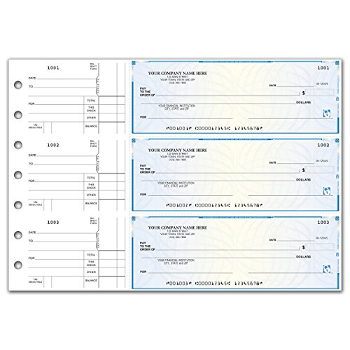 CheckSimple Secure 3-On-A-Page All Purpose Manual Business Checks with Voucher (50 Qty) - Custom