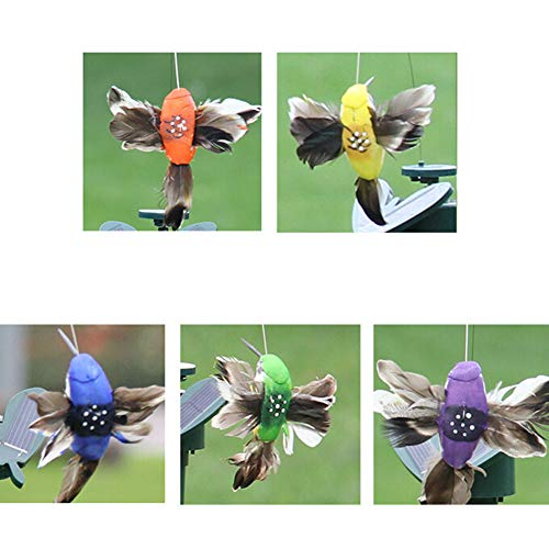 dezirZJjx 5 PCS Hummingbird Ornament, Solar Powered Flying Feather Wing Fake Hummingbird Yard Garden Ornament Decor Random Color ()