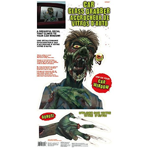 amscan Car Window Zombie Grabbers Halloween Trick or Treat Party Decoration, Multicolor, 24 x 12