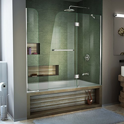 DreamLine Aqua 56-60 in. W x 58 in. H Frameless Hinged Tub Door with Extender Panel in Chrome, SHDR-3148586-EX-01