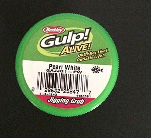 - Berkley Gulp! Alive! 1.5 inch pearl white Jigging grubs 2 jar bundle ice fishing lures panfish bait Crappie bait Gulp jigging grubs