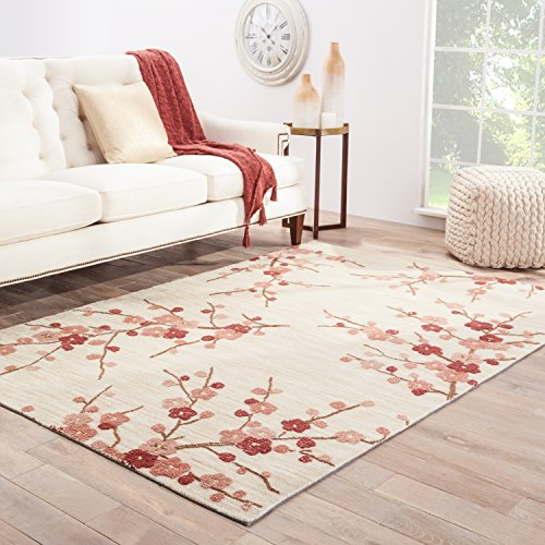 Jaipur Living Cherry Blossom Hand-Tufted Polyester Floral & Leaves White Area Rug (2' X 3')