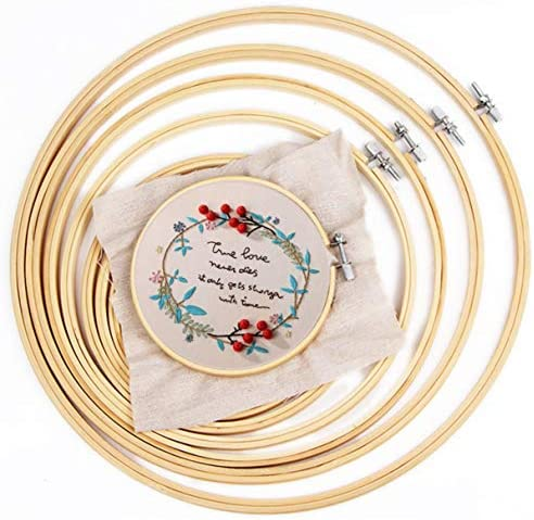 IKAIN Embroidery Hoops Set 6 Pieces Cross Stitch HoopBamboo Circle Ring Hoops 4 Inch to 10 Inch for Embroidery Kit for DIY Decoration