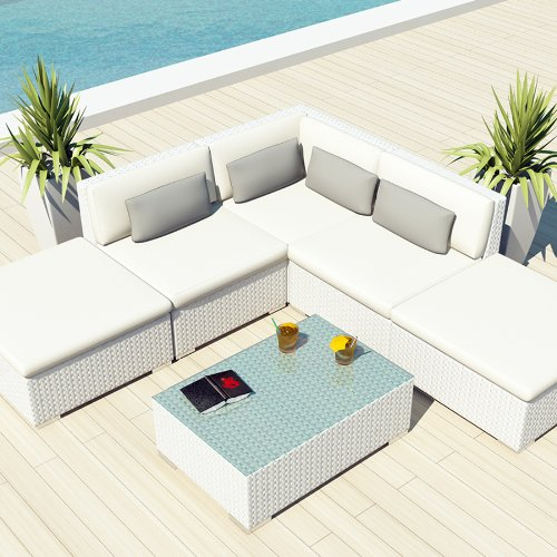 Uduka Outdoor Sectional Patio Furniture White Wicker Sofa
